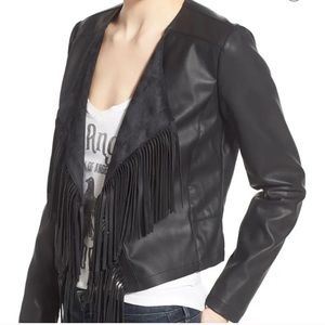 Collection B Faux Leather Fringe Jacket